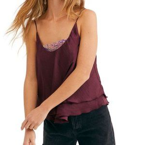 Free People Turn It On Sequined Layered Cami - S